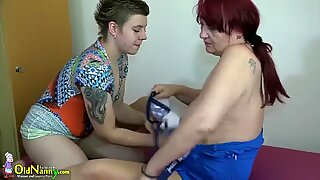 OldNannY Teen Lesbian and Mature Sex Toys Footage