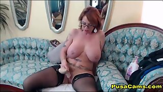 Mature MILF With Glasses and Huge Boobs