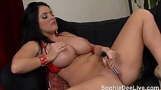 Sophie Dee Plays with Her Pussy in her Sexy Red Bikini