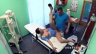 Busty nurse flashing cunt to doctor in office