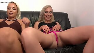 Big Ass Blondes Big Tits Team at Home Warming up for Party