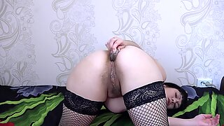 Two small bottles are included in my anal and gives pleasure. Amateur masturbation juicy ass and hairy pussy.