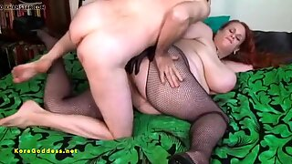 Anal training for his huge tits and ass for this slut wife